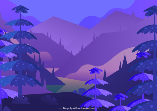 mountain scenery painting classical dark violet decor