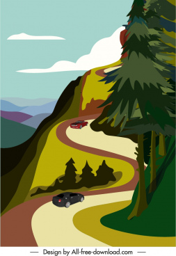 mountain scenery poster colorful motion design
