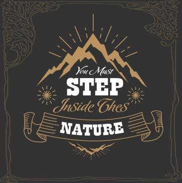 mountain tour advertisement mount icon dark classical design