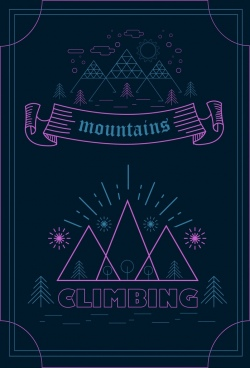 mountain trip banner dark flat design classical style