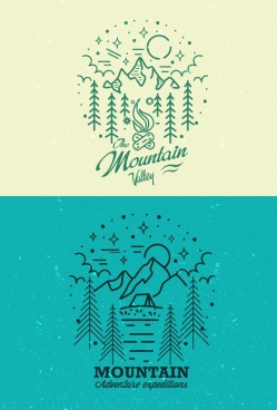 mountain valley logotype green handdrawn sketch