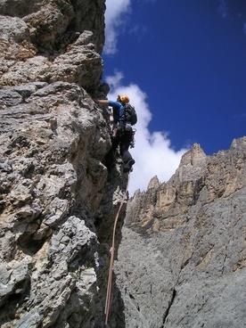 mountaineer alpine climbing steep