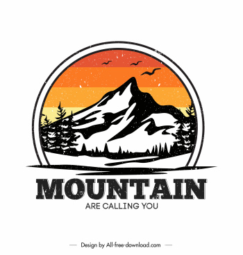 mountaineering label template retro handdrawn sketch