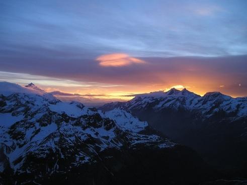 mountains alpine sunrise
