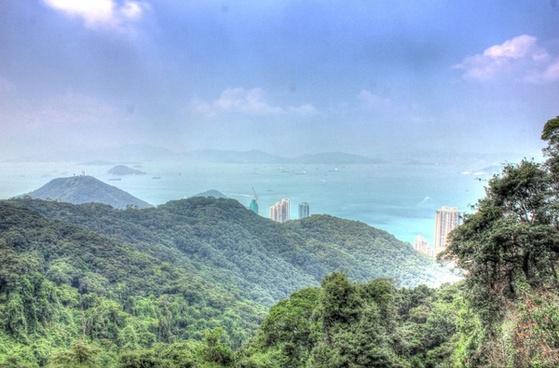 mountains and bay in hong kong china