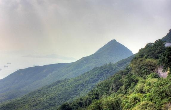 mountains and hills in hong kong china