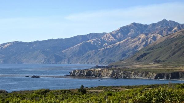mountains meet the ocean coast