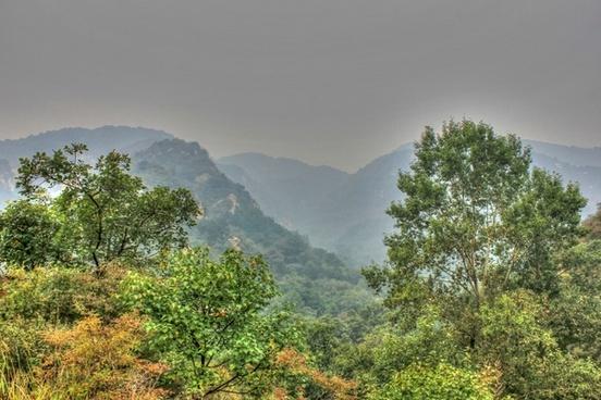 mountains silhouette neat beijing china