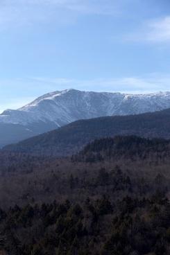 mountains trees snow