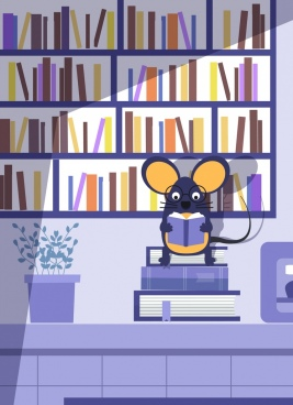 mouse background bookshelf books icons cartoon design