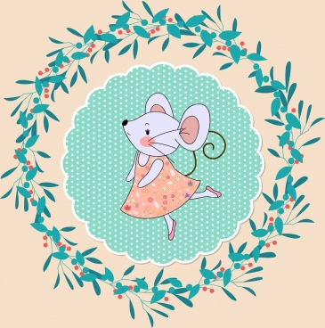 mouse background cute stylized icon circle wreath isolation