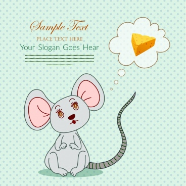mouse background speech bubble cheese icons decor