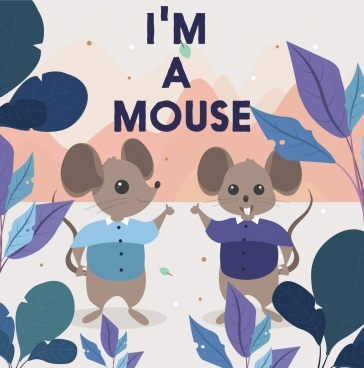 mouse background stylized cartoon characters classical design