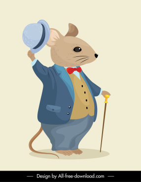 mouse cartoon character icon elegant stylized sketch