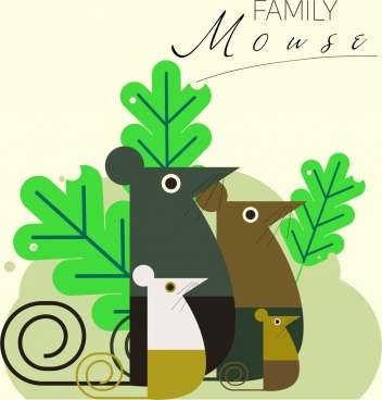 mouse family background classical colored flat design