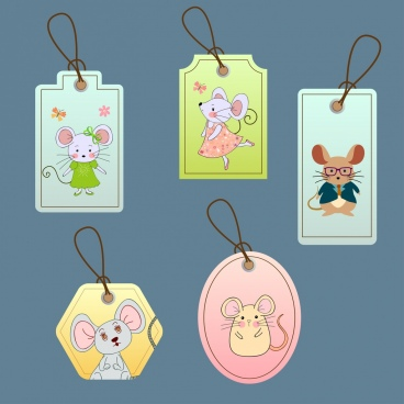 mouse tags templates cute colored stylized icons decor