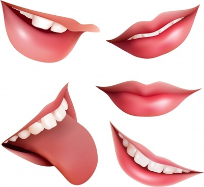 woman mouth icons colored closeup 3d design