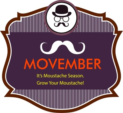 movember mustache season banner classical striped design