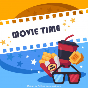 movie advertising banner colorful retro design
