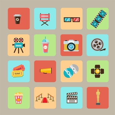movie and cinema symbols isolated with various types