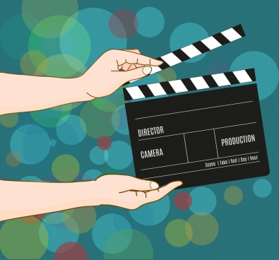 movie background hand action board icons cartoon design