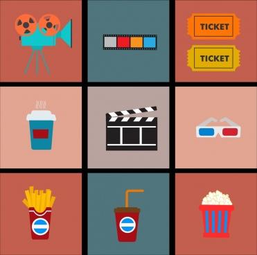 movie design element various flat colorful symbols isolation