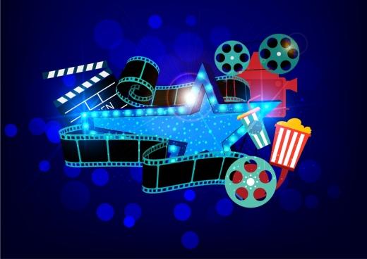 movie design elements sparkling 3d dark design