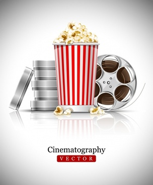 movie background popcorn strip sketch modern realistic design