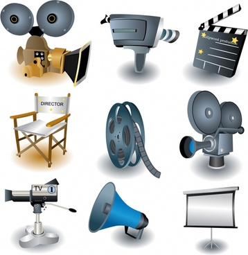 movie design elements colored 3d tools icons