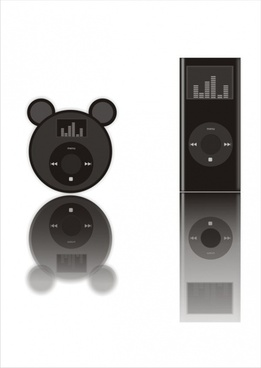mp3 player advertising black shiny design realistic style
