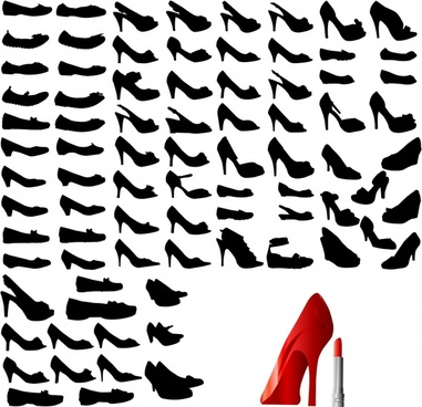 women accessories icons high heel templates silhouette sketch