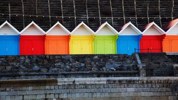 multi colored huts