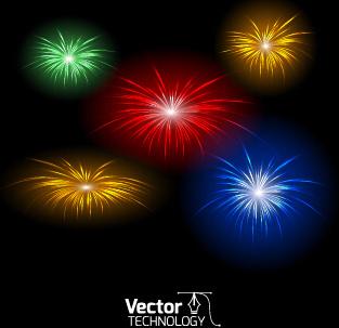 multicolor fireworks exploding background vector