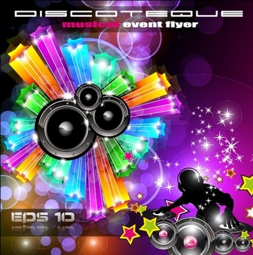 multicolor of disco party flyer design vector