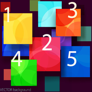 multicolor squares and number background vector