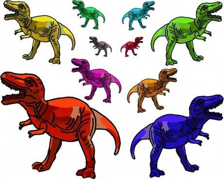 multicolor trex dinosaurs