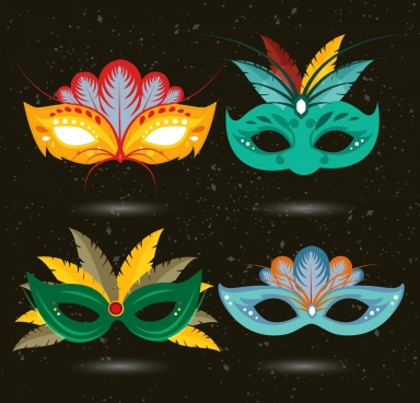 multicolored masquerade masks icons isolation