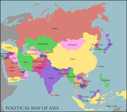 mundo politico map vector set
