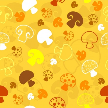 mushroom background repeating colored flat design