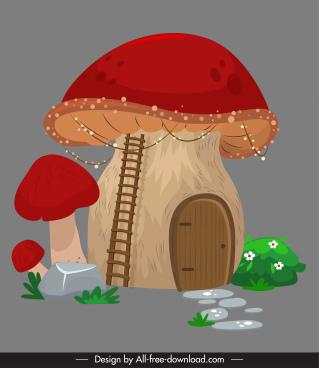 mushroom house icon colored classic vintage decor