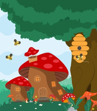 mushroom houses background colored cartoon design bee icons