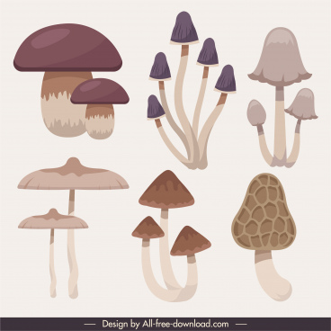 mushroom icons classical flat shapes sketch