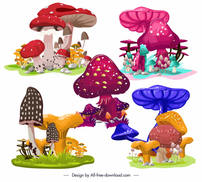 mushroom icons colorful design growth sketch
