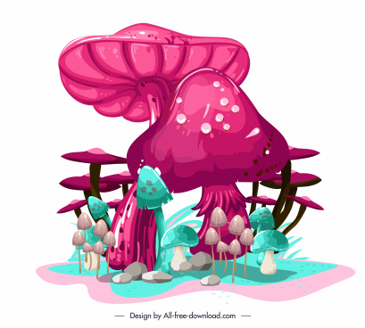 mushroom painting colorful luxuriant sketch