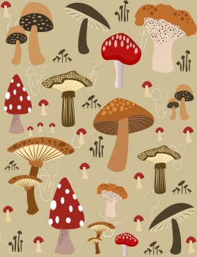 mushrooms background repeating design various colored icons