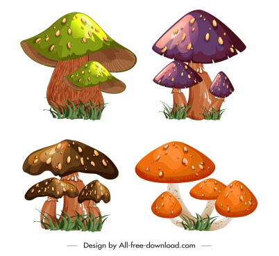 mushrooms icons colorful 3d sketch