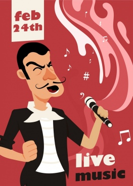 music advertising banner male singer icon cartoon design
