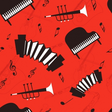 music background black red design acoustic instruments icons