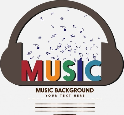 music background floating notes headphone and colorful words