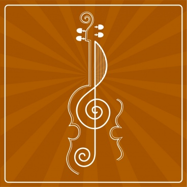 music background guitar icon brown rays decor
